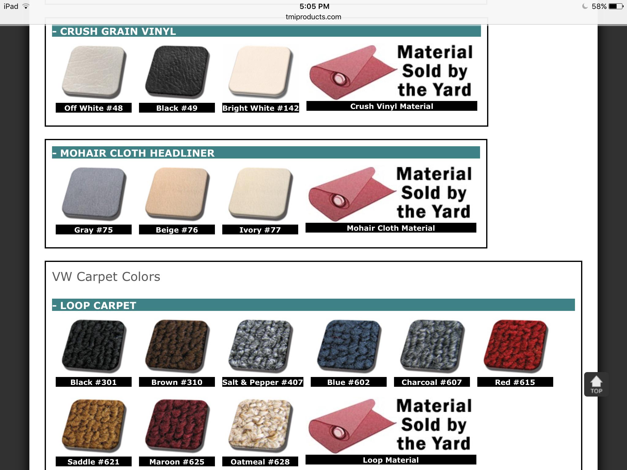 10-piece Carpet Set 1956-64 Bug Convertible - Carpet Sets - Upholstery