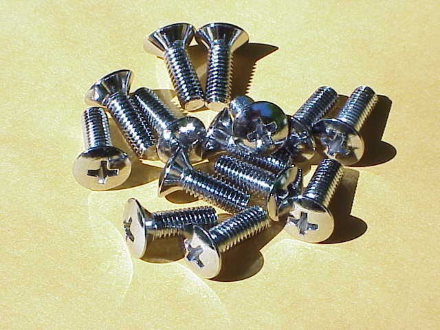 Bug Convertible 14 pc chrome Top Lock Screw Set 1950-67